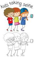 Garçon et fille prenant selfie vecteur
