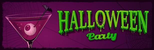 Bannière horizontale Halloween avec illustration de cocktail avec des yeux à l'intérieur.