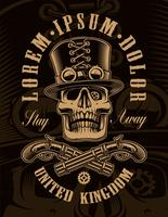 Illustration noir et blanc du crâne de steampunk