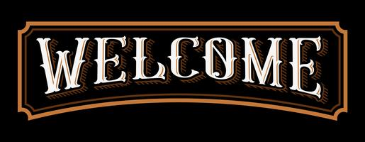 Bienvenue lettrage vintage. vecteur