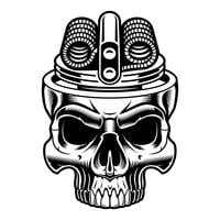 Illustration noir et blanche du crâne de vape. vecteur