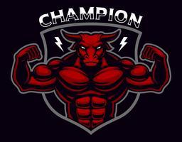 Insigne coloré d'un bodybuilder de taureau sur le fond sombre.