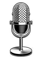 Illustration noir et blanc du microphone vecteur