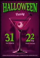 Affiche fête Halloween avec illustration de cocktail avec des yeux à l'intérieur.