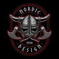 Casque viking avec des haches vecteur