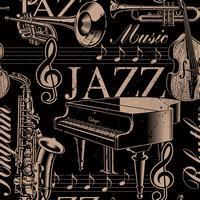 Fond musical sans soudure du thème de jazz vecteur
