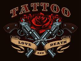 Pistolets et roses (version couleur) vecteur