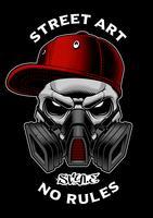 Crâne de graffiti avec masque à gaz.