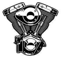 Moteur de moto monochrome vecteur