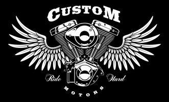 Vintage moteur de moto avec des ailes sur fond sombre