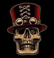 Illustration vectorielle du crâne en chapeau et des lunettes de vue dans un style steampunk