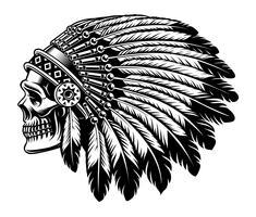 Illustration noir et blanche d'un crâne indien. vecteur
