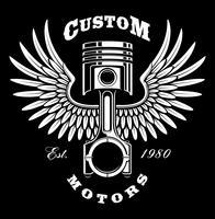 Piston vintage avec ailes sur fond sombre