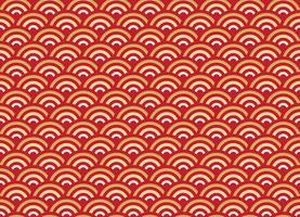 Motif chinois sans soudure or et rouge vague nouvel an fond vecteur