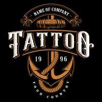 Illustration de lettrage de tatouage avec ancre (pour fond sombre) vecteur