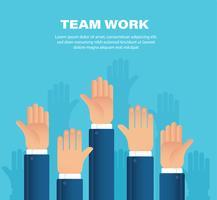 Mains levées. concept de travail d'équipe. Contexte