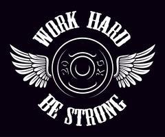 Emblème vintage de gym sur le fond sombre. vecteur