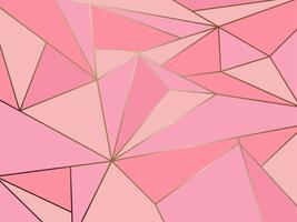 Art abstrait géométrique polygone rose avec fond de ligne d'or