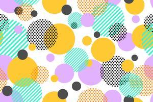 Modèle sans couture de points colorés et cercle géométrique moderne sur fond blanc - illustration vectorielle