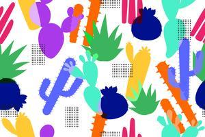 Abstrait modèle sans couture de fond de cactus coloré vecteur