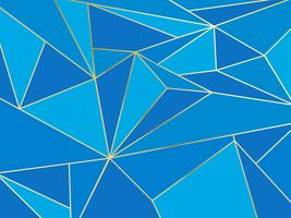 Polygone bleu abstrait artistique géométrique avec le fond de la ligne d'or