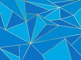 Polygone bleu abstrait artistique géométrique avec le fond de la ligne d'or vecteur