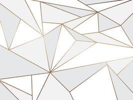 Abstrait polygone blanc artistique géométrique avec fond de ligne d'or vecteur