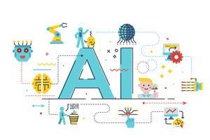 Illustration de concept d'IA (intelligence artificielle) vecteur