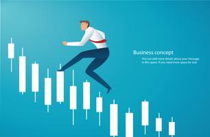 Homme d'affaires en cours d'exécution avec l'arrière-plan graphique chandelier, concept de marché boursier,