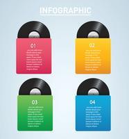 disque vinyle avec vecteur de fond de couverture maquette infographique