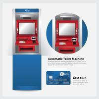 Guichet automatique bancaire avec illustration vectorielle de carte bancaire