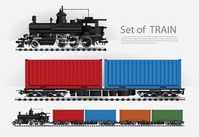 Train de marchandises sur une voie ferrée Illustration vectorielle vecteur