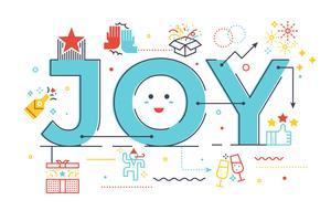 Illustration de lettres de joie mot vecteur