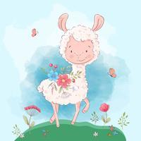Poster papillons et fleurs de lama mignons. Style de bande dessinée. Vecteur