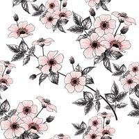 Fleurs roses sauvages sauvages de modèle sans couture sur fond pastel. Doodle dessin main vector illustration.