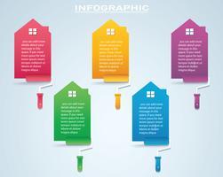 maison colorée avec un rouleau à peinture infographie 4 options fond illustration vectorielle