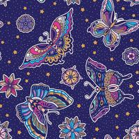Motif papillon avec fond bleu vecteur