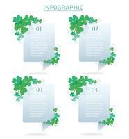 illustration vectorielle de mignon trèfle vert feuille info fond graphique vecteur