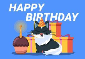 Joyeux anniversaire chat animal vecteur