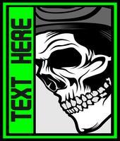 crâne humain, conception graphique, main, dessin, vecteur