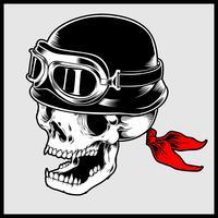 Illustration rétro vectorielle de tête de crâne de motard portant casque de moto Vintage
