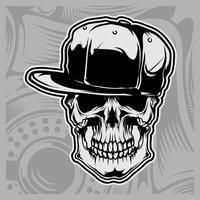 crâne portant vecteur casquette