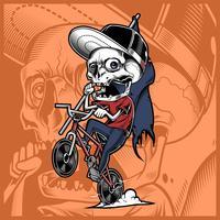 crâne, bicyclette, tenue, drapeau vecteur
