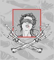 gril avec main crâne metal.hand dessin, dessins de chemise, motard, disque jockey, gentleman, barbier et beaucoup dautres. isolé et facile à modifier. Illustration vectorielle - vecteur