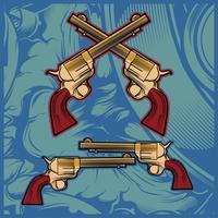 vecteur de dessin main cross gun