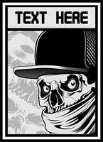 crâne portant chapeau et bandana vecteur