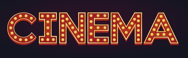 Cinéma bannière alphabet signe chapiteau vintage ampoule vecteur
