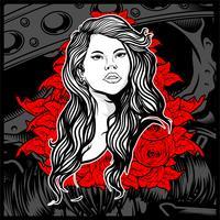 Jeune fille de style vintage avec des roses - vecteur