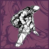 crâne skateboard main dessin vectoriel