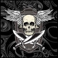 aile de crâne avec le vecteur épée